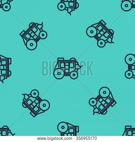 Black Line Western Stagecoach Icon Isolated Seamless Pattern On Green Background. Vector Illustratio