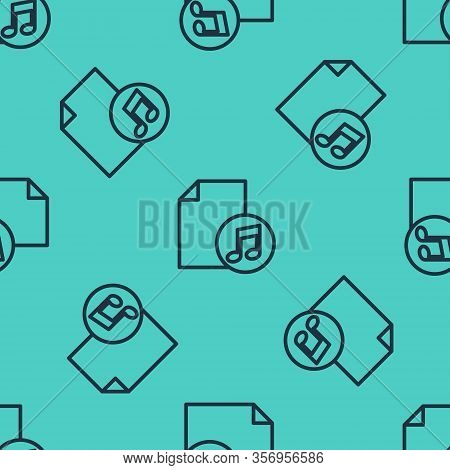 Black Line Music Book With Note Icon Isolated Seamless Pattern On Green Background. Music Sheet With