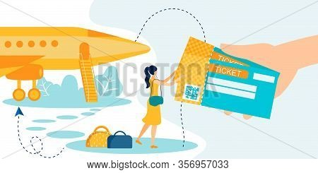 Cartoon Human Hand Giving Woman Flat Online Airplane Tickets With Qr Scanning Code For Flight Metaph