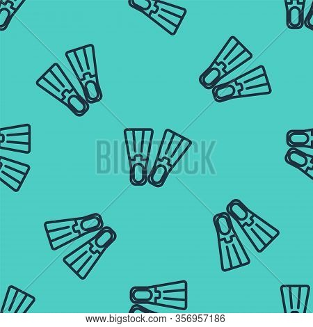 Black Line Rubber Flippers For Swimming Icon Isolated Seamless Pattern On Green Background. Diving E