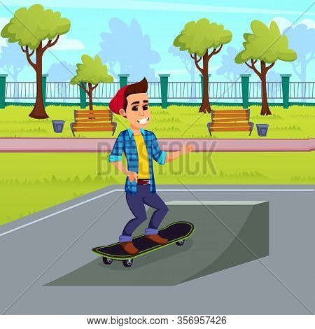 Active Hobby In Open. Teenage Boy, Wearing Red Beany Hat, Training And Having Fun Alone In Local Par