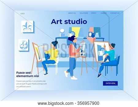 Art Studio Horizontal Banner, People Painting On Canvas During Masterclass, Students In Drawing Acad