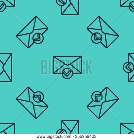 Black Line Envelope And Check Mark Icon Isolated Seamless Pattern On Green Background. Successful E-