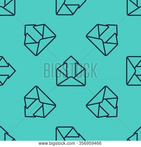 Black Line Outgoing Mail Icon Isolated Seamless Pattern On Green Background. Envelope Symbol. Outgoi