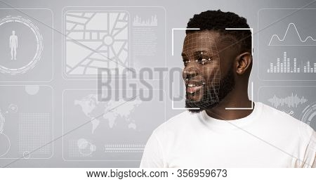 Personal Info Collection Concept. Facial Recognition Of African American Guy Against Grey Background
