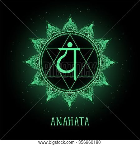 Vector Illustration With Symbol Chakra Anahata On Black Background. Round Mandala Pattern And Hand D