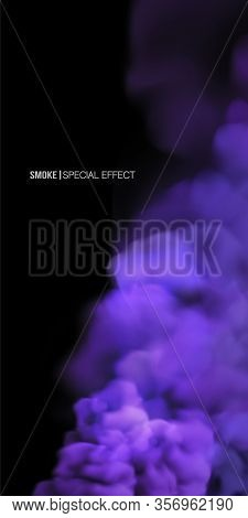 Realistic Multi-colored Smoke On A Black Background. Isolated Fog Or Smoke, Transparent Special Effe