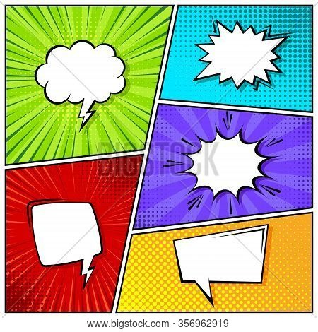 Cartoon Comic Backgrounds Set. Speech Bubble. Comics Book Colorful Poster With Halftone Elements. Re