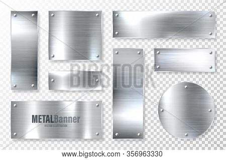 Realistic Shiny Metal Banners Set. Brushed Steel Plate. Polished Silver Metal Surface. Vector Illust