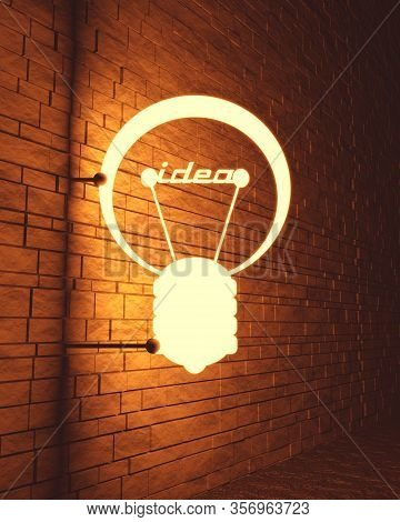 Lamp Outline Icon. Illustration Of Brainwork, Idea Appearance. Switch On Bulb Icon With Idea Text. 3
