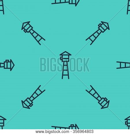 Black Line Watch Tower Icon Isolated Seamless Pattern On Green Background. Prison Tower, Checkpoint,