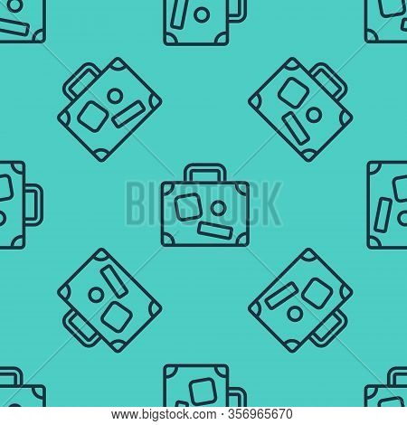 Black Line Suitcase For Travel Icon Isolated Seamless Pattern On Green Background. Traveling Baggage
