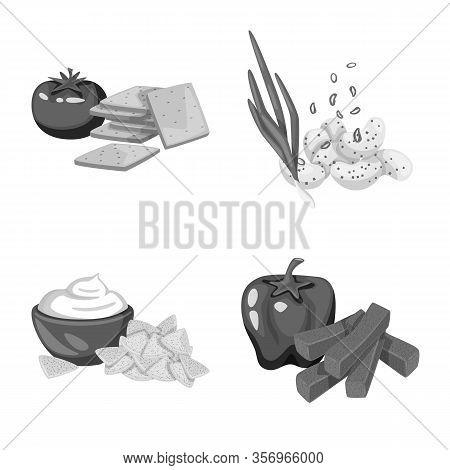 Vector Design Of Taste And Cooking Symbol. Set Of Taste And Seasonin Stock Symbol For Web.