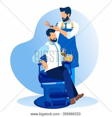 Man Customer Sitting In Armchair Drinking Alcohol Beverage While Hairdresser Make Hairdo In Barber S