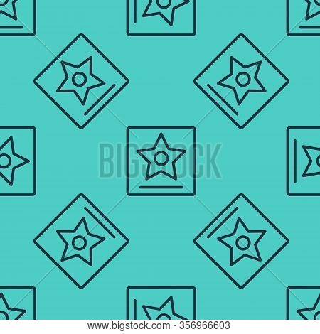 Black Line Hollywood Walk Of Fame Star On Celebrity Boulevard Icon Isolated Seamless Pattern On Gree