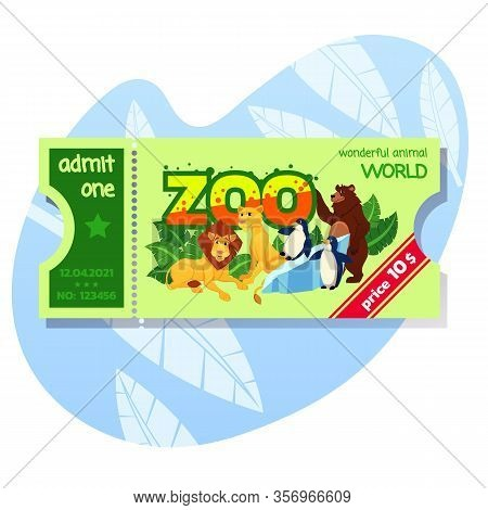 Zoo Admission Tickets With Price Announcement. African And Forest Animals And Birds. Admit One Card