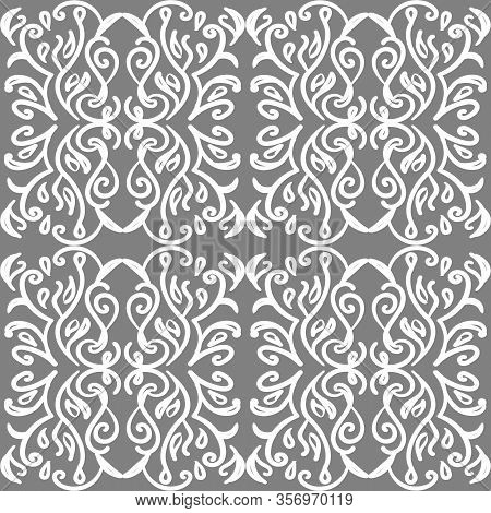 Vintage Victorian Pattern With White Ornate Tracery On Grey Background