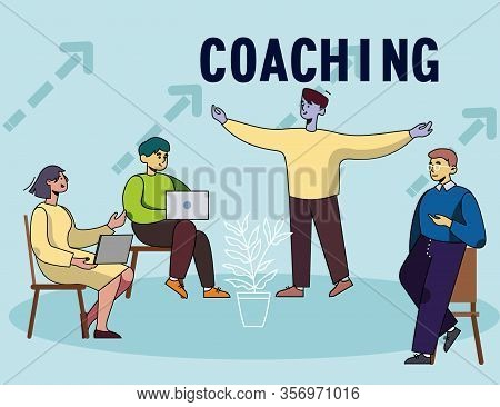Business Coaching Flat Poster With Cartoon People Meeting. Leader Of Company, Coacher, Trainer And C