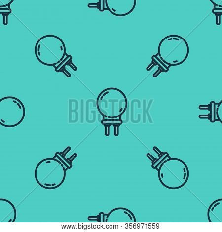 Black Line Light Emitting Diode Icon Isolated Seamless Pattern On Green Background. Semiconductor Di