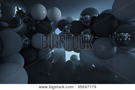 An abstract interior (spheres of different materials)