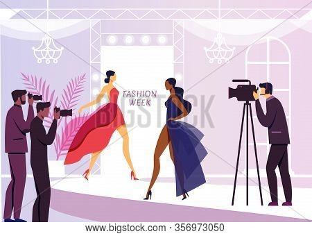 Fashion Show Reportage Flat Vector Illustration. Young Beautiful Models And Paparazzi Cartoon Charac