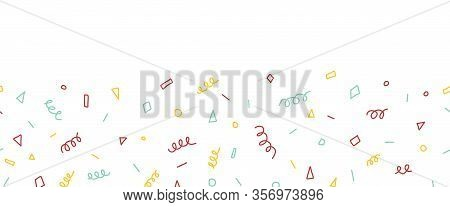 Party Doodles Seamless Vector Border. Abstract Hand Drawn Childish Shapes Repeating Pattern. Twirls,