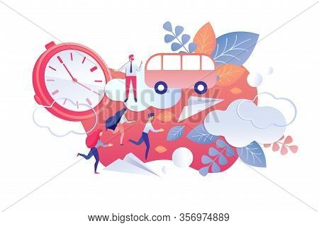 Duration And Regularity Control Working Time. Men And Women Rush To Bus. Vector Illustration On Whit