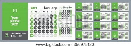 2021 Calendar. New Year Wall Planner Design. English Calender. Green Color Vector Template. Week Sta