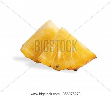 Pineapples Fruit Sliced Isolated On The White Background. Slice The Ananas Into Triangle 2 Pieces St