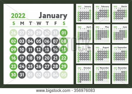 2022 Calendar. New Year Planner Design. English Calender. Green Color Vector Template. Week Starts O