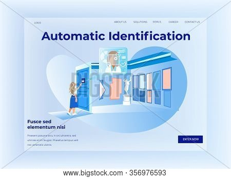 Automatic Identification Horizontal Banner, Woman Stand At Door With Automatically Identifying Objec