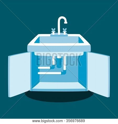 Professional Plumbing Service Concept. Kitchen Faucet Installation Vector Illustration. Clogged Pipe