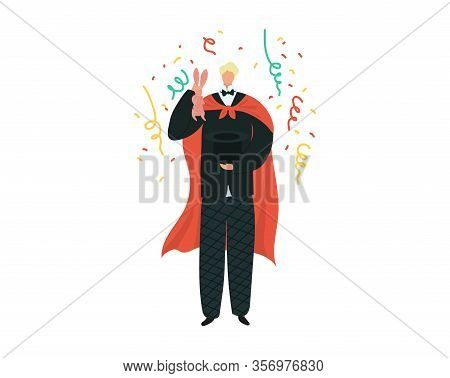 Magician Artist Entertainment Performance Show Trick, Taking Rabbit Out Of Hat Cartoon Vector Illust