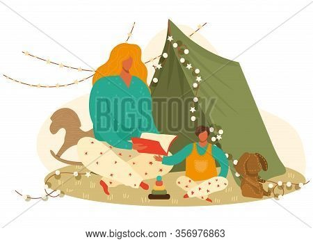 Mother And Child Boy Reading Book, Bedtime Story To Her Son, Toys And Games Cartoon Vector Illustrat