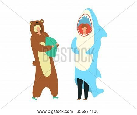 Party Costumes People Dressed In Onesies Representing Bear And Shark Characters Flat Cartoon Vector