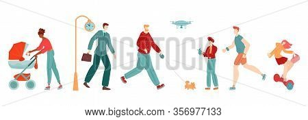 People In City, Pedestrians Flat Set Of Woman Woth Pram, Businessman, Girl Skater, Sportsman And Boy