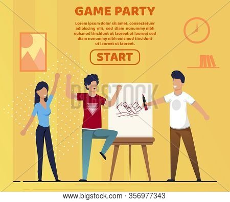 Informative Banner Game Party Lettering Cartoon. Flat Variety Family Leisure Activities Rally Family