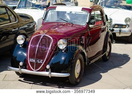 Lecce, Italy - April 23, 2016: Front Right Side View Of Vintage Classic Retro Automobile Car Parked