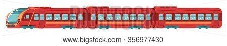 Underground Subway Train, Transportation In Metro Tube Isolated On White Flat Vector Illustration. S