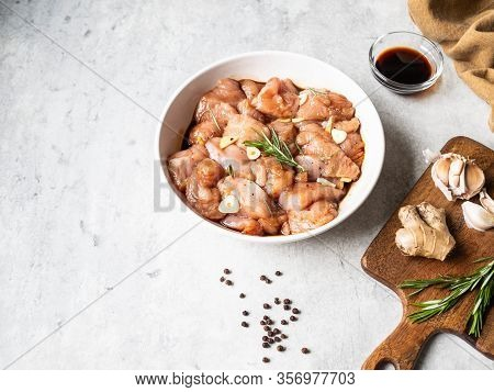 Raw Diet Marinated Turkey Meat With Garlic, Ginger And Teriyaki Sauce In White Bowl. Marinating Meat