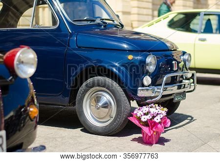 Lecce, Italy - April 23, 2016: Front Left Side View Of Vintage Classic Retro Blue Automobile Car Wit