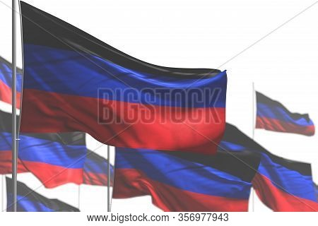 Cute Many Donetsk Peoples Republic Flags Are Wave Isolated On White - Picture With Soft Focus - Any