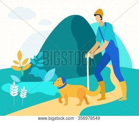 Man Shepherd With Stick Walking Along Path With Yellow Dog. Vector Illustration. Worker At Farm. Nat