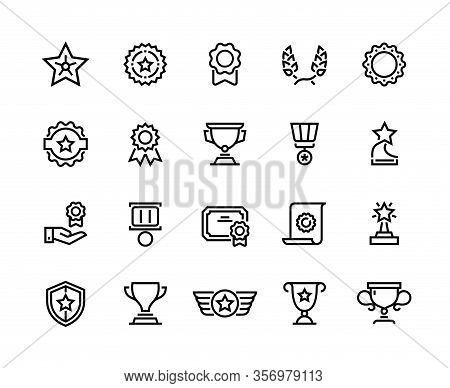 Award Line Icons. Winner Reward, Trophy Medal And Competition Medal, Premium Quality Symbol. Vector