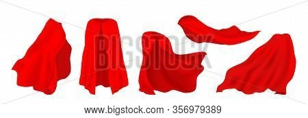 Red Superhero Cape. Realistic 3d Hero Cloak Of Drape, Illusionist Silk Cloth, Vampire Decorative Cos