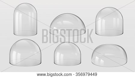 Glass Domes. 3d Realistic Spherical And Hemisphere Kitchen Utensils, Bell Jars, Laboratory And Exhib