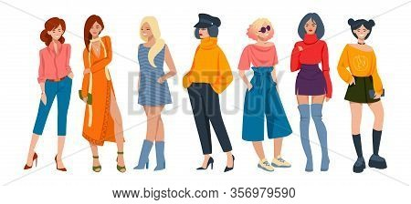 Stylish Women. Cartoon Fashion Characters Wearing Elegant Casual Clothes, Young Hipster Girls With F