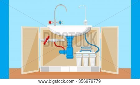Potable Water Treatment System Vector Illustration. Drinkable And Dirty Liquid Faucets. Installed Fi