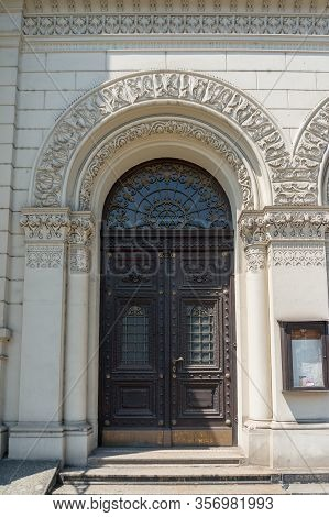 Prague, Czech Republic - May 26, 2018: Decorated Entrance Door Of Great Synagogue In Pilsen