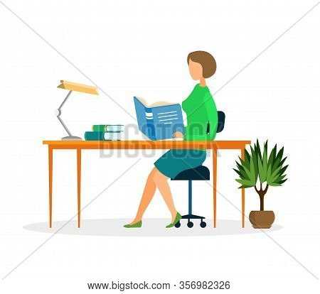 Teacher In Classroom Cartoon Vector Character. Middle Aged Female Tutor, Educator Isolated Illustrat